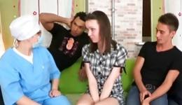 Little sexy bitch has an amazing fucking with two horrible dudes