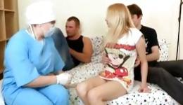 Watch on adorable threesome with one blonde sexy babe and two dudes