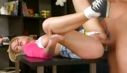 Precious blonde with amazing body having her snatch pounded