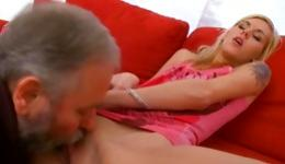 Nice-looking babe with hairless cunt has orgasm with her old master