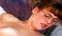 Hot geeky babe is getting her ass hole slammed and is blowing two rods