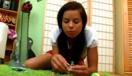 Hot kinky teen is on her floor in bedroom acting really kinky playing