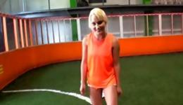 Lovely blonde was playing football and blowing a tough huge rod