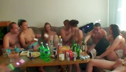 Watch out the group of horny people having nude sex party