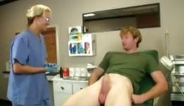 Depraved nurse starts observing her patient and gives him handjob