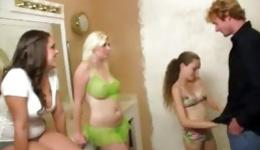 This guy is lucky that three beautiful and lustful whores give him triple blowjob