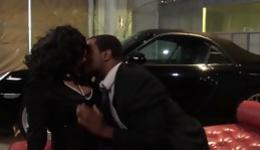 Ebony slut is having posh sex with this hard dude right next to a car