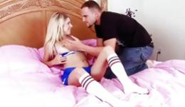 Hot blonde is riding a fat dick and is swallowing it deep throat inside