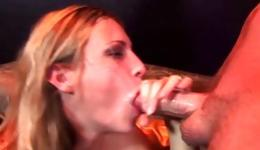 Dirty blonde is swallowing a huge fat dick and is cum covered all over