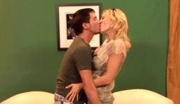 Hot blonde is on top of a fat donger getting sweet pleasure with lust