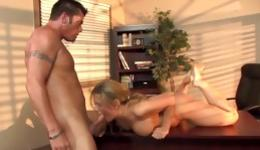 Slutty whore is having rough sex with her boyfriend right in the office
